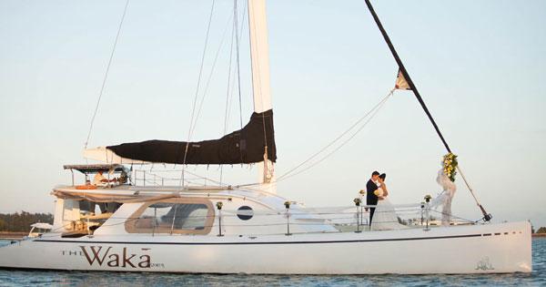 Wedding On Board The Luxury Ship Of Waka Sailing Catamaran