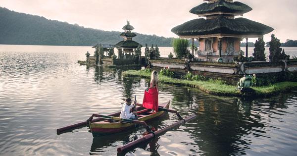 Balinese Traditional Boat in Lake Bedugul