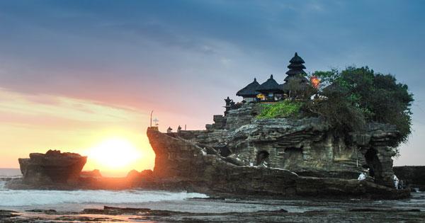 Sunset at the Tanah Lot Temple Tabanan Bali