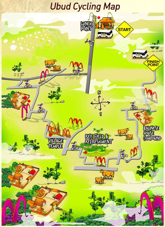 Ubud Bike Tour Half Day Map