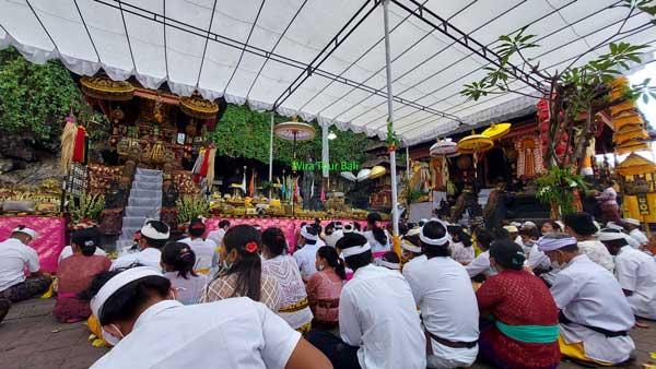 Balinese Hindu Praying At Goa Lawah Temple